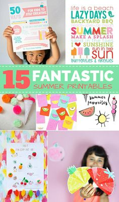 15 Fantastic Summer Free Printables for Kids. Awesome summer bucket lists, creative tips for kids, summer fruit and ice cream games and more!