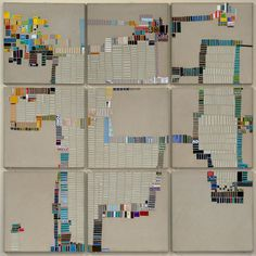 Laurie Frick - Walking Week 44 - Handmade paper and found cut paper on Alumalite panels, x 2011 Textiles, Map Quilt, Different Kinds Of Art, Fibre And Fabric, Data Visualization, Quilting Designs, Textile Art, Doodle, Cut Paper