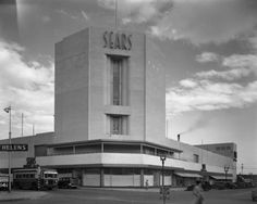 An exterior view of Sears Roebuck and Co. in Glendale, as seen from across the street. Circa 1938. (Security Pacific National Bank Collection/Los Angeles Public Library Collection) Laurel Canyon, Living In La, Willis Tower, Santa Monica, Vermont, Empty, Art Deco, Exterior, Architecture