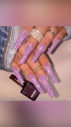 Lilac Nails With Glitter, Sparkly Acrylic Nails, Glitter French Nails, Purple Nails, Bling Nails, Glitter Acrylics, Pastel Nails, Dope Nails, Kathy Nails
