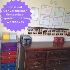 Workbox systems are amazing for homeschooling families teaching multiple children and/or multiple subjects! Keeps everything organized in on place, and keeps the chaos out of your day by having everything your student(s) need in one spot to finish their school day!