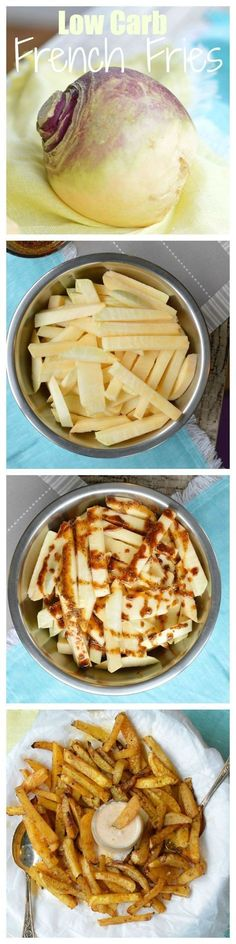 Low Carb fries Turnip fries with paprika Clean eating fries healthy fries recipe in the oven skinny fries Ketogenic Recipes, Low Carb Recipes, Cooking Recipes, Healthy Recipes, Vegetarian Recipes, Vegetarian Dish, Lunch Recipes, Vegetable Recipes, Cetogenic Diet