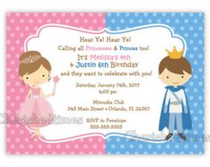 Prince and Princess Invitation  Blue Gold Printable Kids
