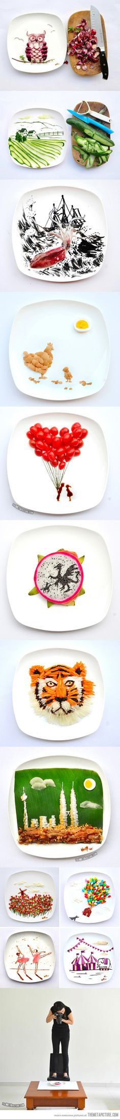 Artist Hong Yi plays with her food….