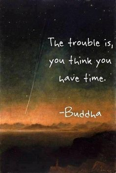 The trouble is, you think you have time  - Buddha Woo very true!