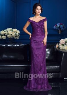 V-neck Zipper Ruched Sleeveless Purple Mermaid Lace Floor Length Mother Of The Bride Dresses