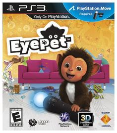 EyePet EyePet is virtually projected into your living room where he can play and interact with you and your family. Grab a PlayStation Eye camera and PlayStation Move motion controller (required) and control toys and objects on screen just by moving your hands. You can also create drawings in the real world and watch them come to life as 3-D toys with which your EyePet can play with on screen.