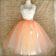 Womens tulle skirt in peach and cream. Peach over ivory lined tea length tutu skirt.
