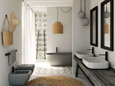 After the main function has been done, bathroom interior design is the second variable that should be considered seriously, because the bathroom design you choose will affect your mood everyday. Wood Bathroom, Bathroom Flooring, Bathroom Interior, Modern Bathroom, Small Bathroom, Quirky Bathroom, Bathroom Tubs, Rental Bathroom, Bathroom Countertops