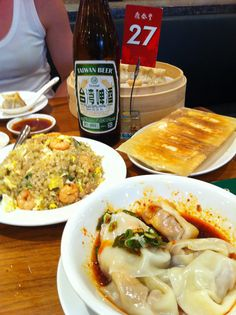 Fried rice, wontons, pot stickers and of course Taiwan beer. Good times.