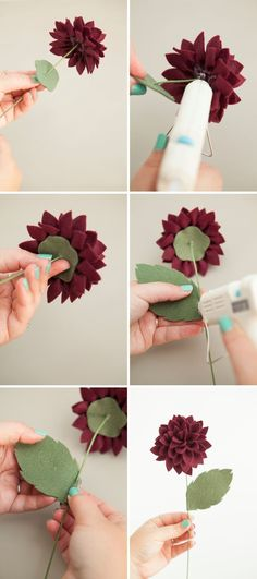 Felt flower bouquet - Learn How To Make Felt Dahlia Flowers! Felt Flower Bouquet, Fabric Bouquet, Felt Flowers, Dahlia Flowers, Felt Flower Diy, Flowers Bucket, Paper Flowers Diy, Handmade Flowers, Flower Crafts