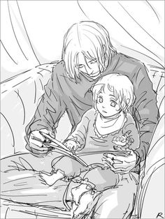 Francis reading to little Matthew