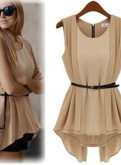 Trendy Sleeveless Chiffon Dress with Belt for Summer,  Dress, Sleeveless, Chiffon, Dress with Belt, Casual