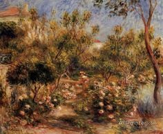 Pierre Auguste Renoir Young Woman In A Garden - Cagnes oil painting reproductions for sale