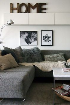I love the idea of adding a shelf right over your couch/furniture. It adds to the room & extra decoration space My Living Room, Home And Living, Living Room Decor, Living Spaces, Bedroom Decor, Home And Deco, Living Room Inspiration, Home Fashion, Family Room