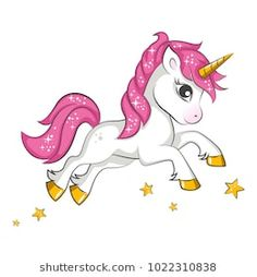 Little pink magical unicorn. Vector design on white background. Print for t-shirt. Romantic hand drawing illustration for children. Unicorn Drawing, Unicorn Art, Magical Unicorn, Cute Unicorn, Clipart Baby, Cute Clipart, Unicorn Images, Unicorn Pictures, Kids Cartoon Characters