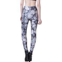 Gray Modern Ladies Skull Printed Skinny Skeleton Leggings ($15) ❤ liked on Polyvore featuring pants, leggings, grey, grey leggings, gray leggings, skull leggings, gray pants y skinny trousers