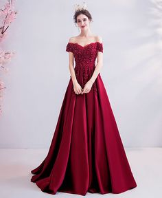 Burgundy lace long prom dress formal dress sold by Little Cute. Shop more products from Little Cute on Storenvy, the home of independent small businesses all over the world. Pretty Prom Dresses, Red Wedding Dresses, Elegant Dresses, Formal Dresses, Dress Pesta, Burgundy Bridesmaid Dresses, Bridesmaid Gowns, Prom Outfits, Fantasy Dress