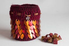 Hey, I found this really awesome Etsy listing at https://www.etsy.com/listing/522946838/dragon-dice-bag-red-and-orange-scalemail