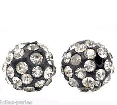 """10PCs Black Pave Clear Rhinestone Round Polymer Clay Ball Beads 10mm(3/8"""") Dia - http://crafts.goshoppins.com/beads-jewelry-making/10pcs-black-pave-clear-rhinestone-round-polymer-clay-ball-beads-10mm38-dia/"""