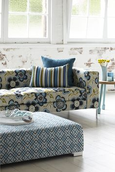 Caledonia Collection, Warwick Fabrics, I like the ottoman shape and the colours in the floral fabric