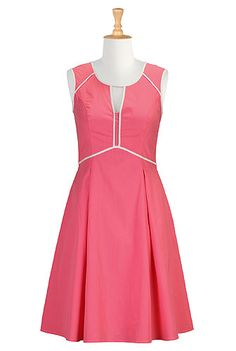 Keyhole piped trim poplin dress from eShakti.  Another in the coral pink I am loving for this year.