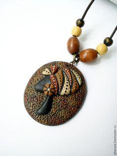 Polymer clay pendant Кулоны, подвески ручной работы. Ярмарка Мастеров - ручная работа. Купить Кулон Африка. Handmade. Разноцветный, африканка, кулон африканка