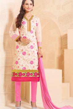 White & Pink Chanderi Cotton Embroidered UnStitch Suit