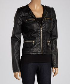 Love this Black Double Zip Faux Leather Jacket by Celcius on #zulily! #zulilyfinds
