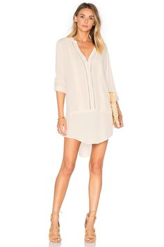f8d4f7964e83 Bishop + Young Embroidered Shirt Dress in Ivory Button Down Shirt Dress