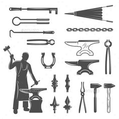 Blacksmith Black White Icons Set by VectorPot Blacksmith black white icons set with craftsman ironworks nippers pincers chain horseshoe sledge hammers isolated vector illustrat
