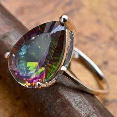 wow stunning .925 s.s. rainbow topaz ring size 6.75