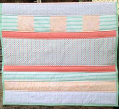 FREE SHIPPING Coral Mint and Peach Quilt by BudandBlume on Etsy