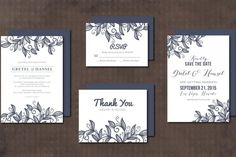 Wedding Invitation Suite leaves By Aticnomar