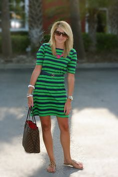 green and navy Stripes + justdandy