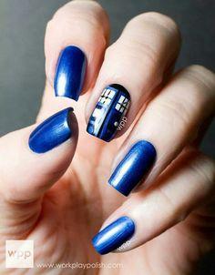 TARDIS Blue nail art