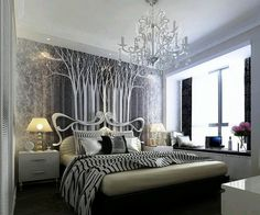 Bedroom:Charming Girls Bedroom Ideas Zebra Pictures With Zebra Bedding And Pillows Also Tree Wallpaper Bedroom Walls Ideas Along With Table Lamps Above Beds Vanity And Chandeliers For Royal Girls Bedroom Ideas Lovely Royal Girls Bedroom Ideas For Your Room