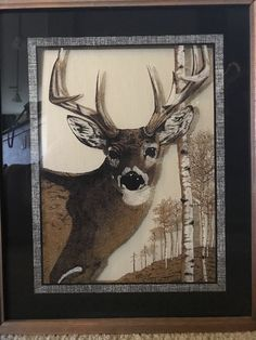 Reverse Image on Glass Buck Deer in Woods Lu Lus Framed Picture 17 x 21 Man Cave