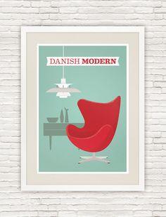 Danish modern poster, Arne Jacobsen Egg chair print, mid century modern art - product images of
