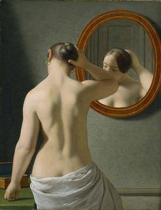 c.w. eckersberg: en nøgen kvinde sætter sit hår foran et spejl, 1941,