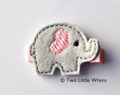 Felt Elephant Hair Clip  Light Pink and Silver by twolittlewrens, $4.00