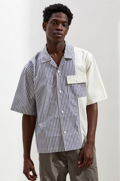 Urban Outfitters Blocked Half Sleeve Button-Down Shirt Half Sleeves, Aesthetic Clothes, Shirt Style, Urban Outfitters, Shirt Designs, Zara, Button Down Shirt, Men Casual, Menswear