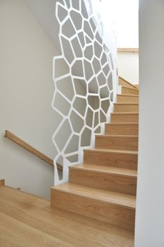 A staircase grill is not just a safety feature. The newels, balusters, and grills of a staircase can make a real design statement and bring a sense of Stair Railing Design, Stair Decor, Staircase Railings, Staircase Ideas, Metal Stairs, Modern Stairs, Interior Stairs, Home Interior Design, Balustrades