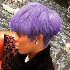 Short Pastel Purple Hairstyle For Black Women