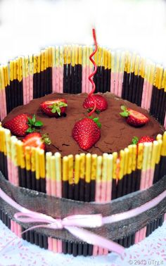 Pocky cake ~ Love the stripped look with two different flavors!