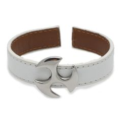 White Genuine Leather Cuff Bracelet