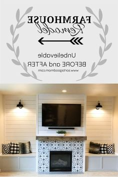 New Pics Fireplace Remodel shiplap Style Shiplap walls, a wood mantel, patterned tiles around the fireplace & galvanized lights are focal po Living Room Modern, Living Room Designs, Living Room Decor, Living Rooms, Farmhouse Fireplace, Rustic Farmhouse, Rustic Homes, Farmhouse Interior, Farmhouse Lighting