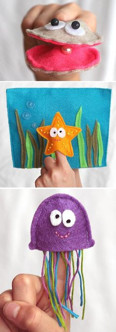 Finger puppet DIY - at Fiskars http://www.fiskarscrafts.com/projects/t_oceanfingerpuppets.aspx