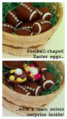 Get football easter eggs to make favors for the Big Game! Football candy party favors with a team colors surprise inside!