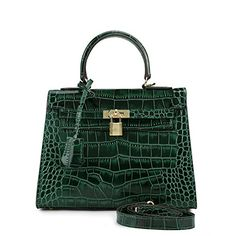 e652b04a3df4 House Of Hello Women s Genuine Leather KL Style Crocodile Grain  Top-handle-bags Dark
